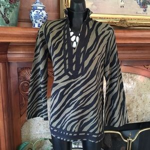 Michael Kors Green Safari Zebra Tunic Top